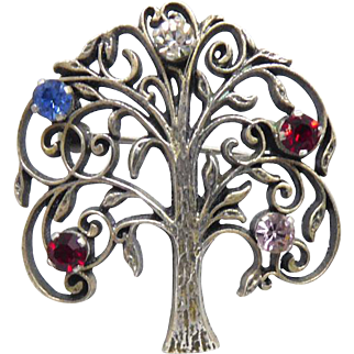 Vintage Signed Anson Sterling - Sterling Silver Tree Brooch with Colored Crystal Fruits