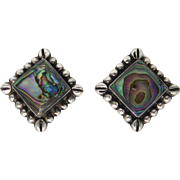 Beautiful Vintage Mexican Sterling Silver & Abalone Shell Earrings - Signed!