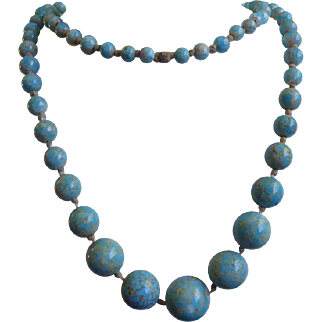 Gorgeous Antique Turquoise Glass Trading Bead Necklace