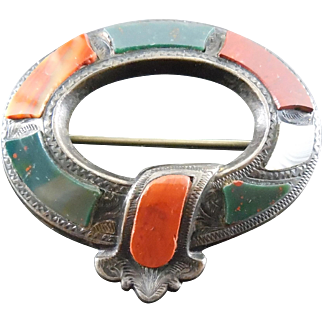 Antique Victorian Scottish Agate Garter Brooch - Silver With Nice Stones Engraved Design & C Clasp