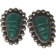 Vintage Carved Mask Earrings With Beaded Border Signed Mexico Silver - Circa 1940