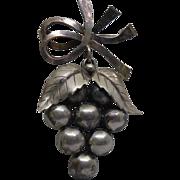 Denmark Sterling Silver Grape Harvest Brooch - Signed John L for John Lauritzen