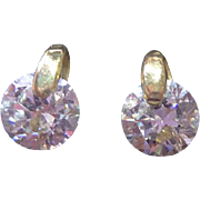 Lovely 10K Gold Earrings With Sparkly CZ Crystal Stones