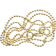 Lovely 18K Gold Italian Ball Chain Signed TV 60 and Marked 750 - 4 Grams 17.5""