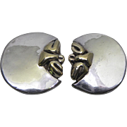 Huge Chunky Sterling Silver Two Tone Electroform Earrings Signed M.H.