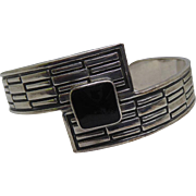 Vintage Sterling Silver Cuff Bracelet with Brick Wall Pattern & Black Square Stone Signed HG