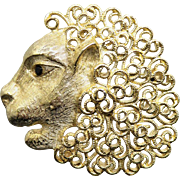 Fabulous Vintage Golden Lion Unsigned Jeanne Brooch