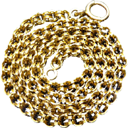 Antique 18K Gold Chain Necklace With Double Circle Links