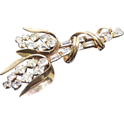 Lovely Vintage 12K Gold Filled Brooch Signed Phyllis - Perky Tulip Flower With Rhinestones