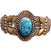 Signed Bell Trading Post Solid Copper & Faux Turquoise Southwestern Bracelet