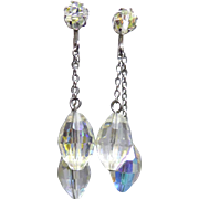 Gorgeous Sparkly Double Dangle Earrings With Large Faceted Aurora Borealis Crystals
