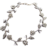 Designer Signed Judith Jack Sterling Silver Bracelet with Tulip & Daisy Flowers