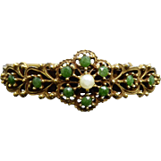 Vintage Hinged Bangle Bracelet Floral Stamped Bangle with Faux Emeralds & Pearl