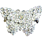 Vintage Czech Butterfly Brooch With Bright Clear Crystal Stones