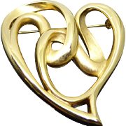 Beautiful Vintage Signed Erwin Pearl Vintage Golden Heart Brooch