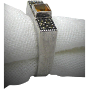Sterling Silver Judith Jack Signed Band Ring With Marcasites and Orange Stone