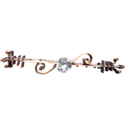 Gorgeous 14K Gold Antique Victorian Bar Brooch With Clear Paste Stone