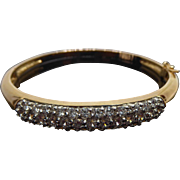 Beautiful Gold Over Sterling Silver CZ Hinged Bangle Bracelet - 925