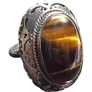 Fabulous Large Mexican Sterling Silver Ring With Tigers Eye - Signed FVM Eagle 3