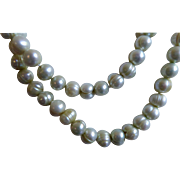 Lovely Vintage Ringed Pearl Necklace - Iridescent Blue Green Hues