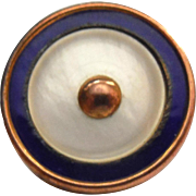 Antique 9K Gold & Shell Button With Blue Enamel - British Hallmarks Signed T&S