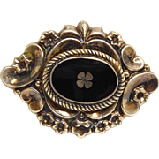 Beautiful & Dimensional Victorian Brooch With 4 Leaf Clover In Black Enamel - Signed ER800Dbl