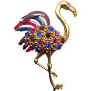 Iconic Vintage Flamingo Brooch with Pink, Purple, & Blue Feather & Rhinestones