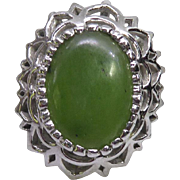 Large Vintage Sterling Silver Ring With Opaque Emerald in Fancy Filigree Setting