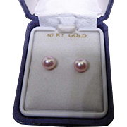 Beautiful 10K Gold Pink Pearl Earrings In Original Presentation Box