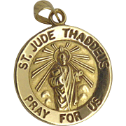 14K Gold Religious Medal - Saint Jude Thaddeus Pray For Us, Patron Saint of Lost Causes - Signed Shima