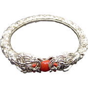 Vintage Double Dragon Bangle Bracelet With Faux Coral Glass Stone & Eyes
