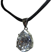 Fabulous Sterling Silver CZ Necklace On Silk Cord -  Signed ESPO