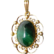 Pretty Vintage Gold Filled Pendant with Malachite - Signed Sorrento 1/20 12K GF