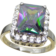 Beautiful Sterling Silver Ring With Purple Green Center Stone and Clear Crystals