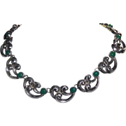 Fabulous Arts & Crafts Era Necklace With Wave Like Sterling Silver & Green Glass Stones
