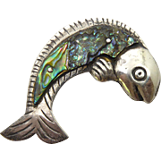 Iconic Vintage Mexican Sterling & Abalone Shell Fish Brooch William Spratling Design Signed Estella Popowski