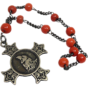 Beautiful Antique Coral Glass Chaplet Decade Rosary Signed Penin Lyon - Our Lady of Salette