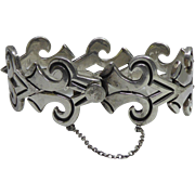 Heavy Vintage Sterling Silver Bracelet With Stylized Arrow Links From Taxco Mexico - Over 80 Grams