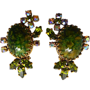 Lovely Mottled Green Glass Earrings From Austria With Purple Green Aurora Borealis & Chartreuse Crystals From Austria