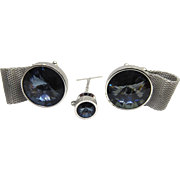 Striking Rivoli Crystal Mesh Cufflink Tie Tack Set Signed Shields - Blueish Gray Color Crystals