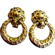Vintage Signed Don Lin Lion Head Door Knocker Earrings - Clip Ons Circa 1980