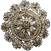 Antique Brooch - Etruscan Shield Shapes with Border Of Flowers