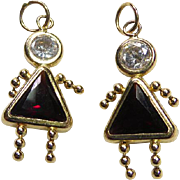 2 14K January Birthstone CZ Girl Pendants or Charms - Twin Girls!