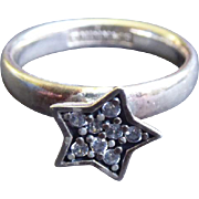 Great Sterling Silver Star Ring - Signed or Marked SPINNING & 925 M and  With  A Triangle Mark