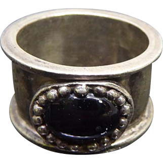 Vintage Sterling Silver Tribal Wide Band Ring With Black Stone
