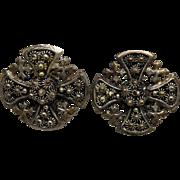 Older Vintage Etruscan Look Jerusalem Cross Earrings Marked 90 - Clip On