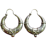 Vintage Hand Wrought Silver Tribal Earrings