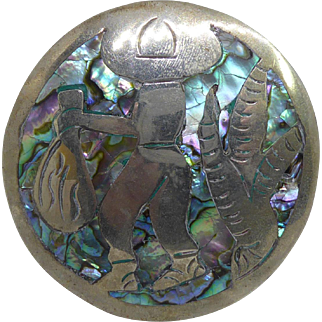 Large, Older Vintage Mexican Sterling Silver Brooch With Abalone Shell - Mexican Man Carrying Sack