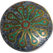 Large Vintage Sterling & Mixed Metals Stone Mosaic Brooch From Mexico - Signed FOM