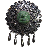 Large Older Mexican Sterling Silver Green Mask Brooch - Circa 1940s